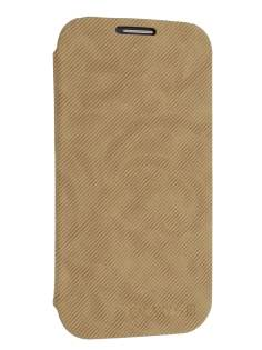Premium Book-Style Slim Flip Cover for Samsung I9300 Galaxy S3 - Wood Brown Leather Wallet Case