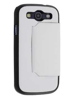 Slim Fabric Flip Cover with built-in Stand for Samsung I9300 Galaxy S3 - White/Black Leather Wallet Case