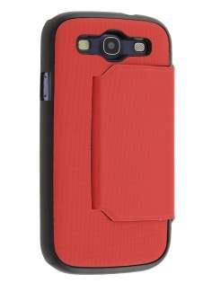 Slim Fabric Flip Cover with built-in Stand for Samsung I9300 Galaxy S3 - Red/Classic Black
