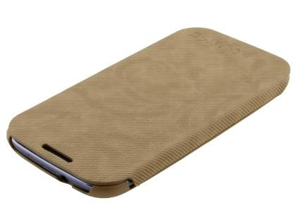 Premium Book-Style Slim Flip Cover for Samsung I9300 Galaxy S3 - Wood Brown