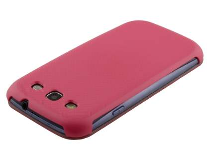 Premium Book-Style Slim Flip Cover for Samsung I9300 Galaxy S3 - Hot Pink