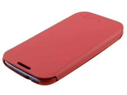 Slim Synthetic Leather Book-Style Flip Cover for Samsung I9300 Galaxy S3 - Red