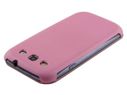 Slim Synthetic Leather Book-Style Flip Cover for Samsung I9300 Galaxy S3 - Baby Pink