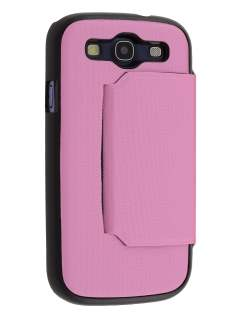 Slim Fabric Flip Cover with built-in Stand for Samsung I9300 Galaxy S3 - Baby Pink/Classic Black