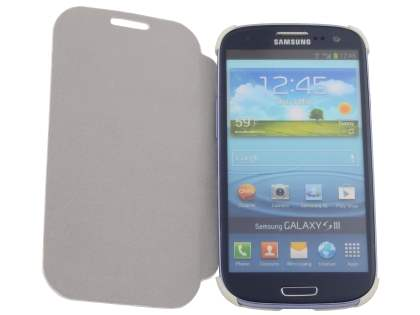 Slim Synthetic Leather Book-Style Flip Cover for Samsung I9300 Galaxy S3 - White