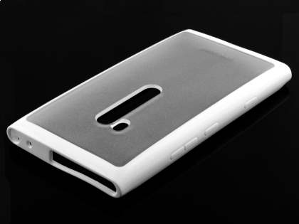 COCASES Dual-Design Case plus Screen Protector for Nokia Lumia 900 - White/Clear