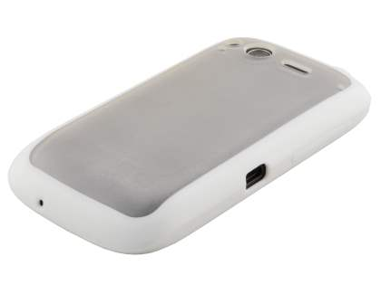 COCASES Dual-Design Case plus Screen Protector for HTC Desire S - White/Clear