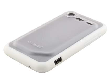 COCASES Dual-Design Case for HTC Incredible S - White/Clear