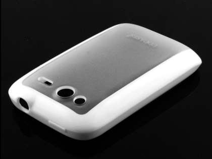 COCASES Dual-Design Case plus Screen Protector for HTC Wildfire S - White/Clear