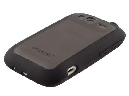 COCASES Dual-Design Case plus Screen Protector for HTC Wildfire S - Black/Clear