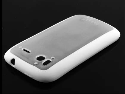 COCASES Dual-Design Case plus Screen Protector for HTC Sensation - White/Clear