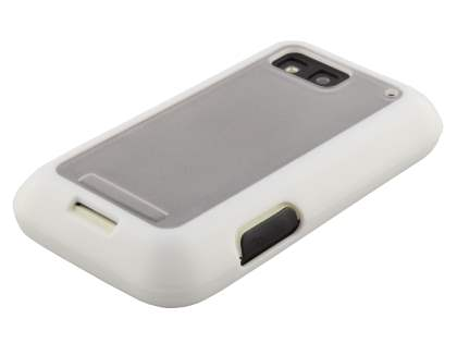 COCASES Dual-Design Case plus Screen Protector for Motorola DEFY ME525 - White/Clear