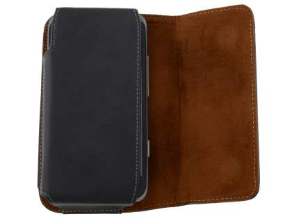 Extra-tough Genuine Leather ShineColours belt pouch for HTC Titan II 4G