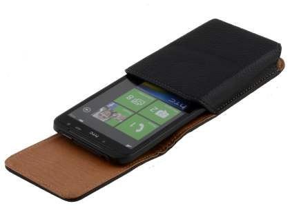 Textured Synthetic Leather Vertical Belt Pouch for HTC Titan