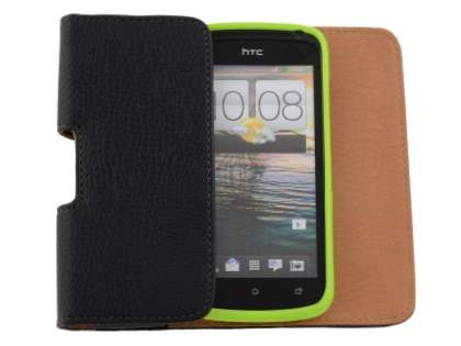 Textured Synthetic Leather Belt Pouch (Bumper Case Compatible) for HTC One S