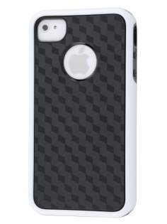 3D Design Protective Case for iPhone 4/4S - White/Black Soft Cover