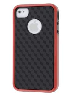 3D Design Protective Case for iPhone 4/4S - Red/Black Soft Cover