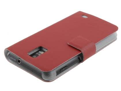 Samsung I9210T Galaxy S2 4G Slim Genuine Leather Portfolio Case - Red
