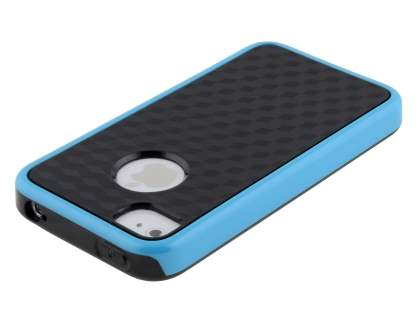 3D Design Protective Case for iPhone 4/4S - Light Blue/Black