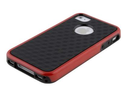 3D Design Protective Case for iPhone 4/4S - Red/Black