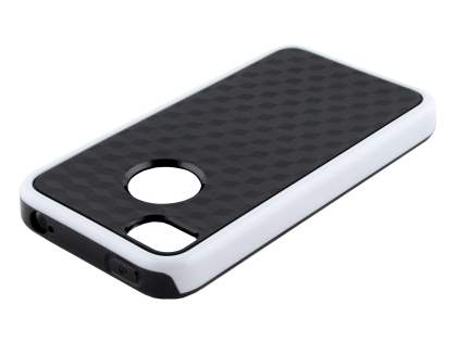 3D Design Protective Case for iPhone 4/4S - White/Black