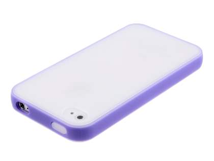 Dual-Design Case for iPhone 4/4S - Purple/Frosted Clear