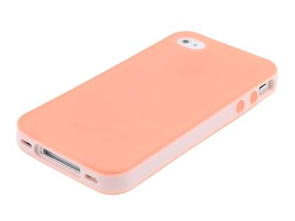 Dual-Design Case for iPhone 4/4S - White/Frosted Coral pink