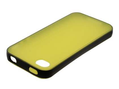 Dual-Design Case for iPhone 4/4S - Black/Frosted Canary Yellow