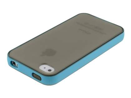 Dual-Design Case for iPhone 4/4S - Blue/Frosted Grey