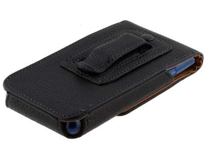 Textured Synthetic Leather Vertical Belt Pouch - Bumper Case Compatible