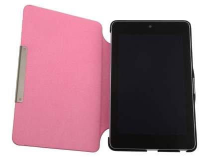 Slim Synthetic Leather Flip Cover with built-in Stand for Asus Google Nexus 7 2012 - Pink/Black