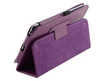 Synthetic Leather Flip Case with Fold-Back Stand for Asus Google Nexus 7 2012 - Purple Leather Flip Case