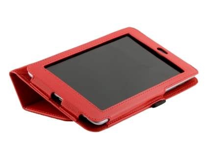 Synthetic Leather Flip Case with Fold-Back Stand for Asus Google Nexus 7 2012 - Red
