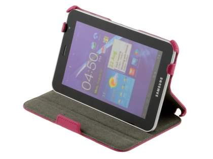 Premium Samsung Galaxy Tab 7.0 Plus Slim Synthetic Leather Flip Case with Dual-Angle Stand - Pink