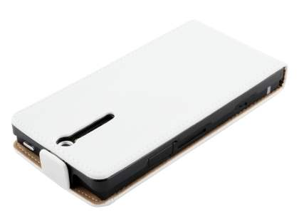 Sony Xperia S LT26i Slim Synthetic Leather Flip Case - Pearl White