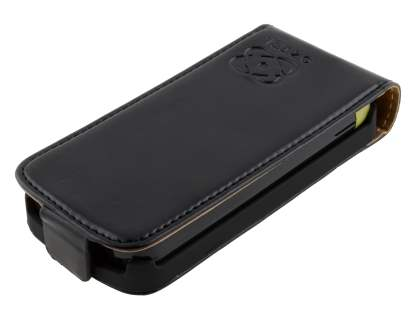Slim Synthetic Leather Flip Case for Nokia C5-03 - Classic Black