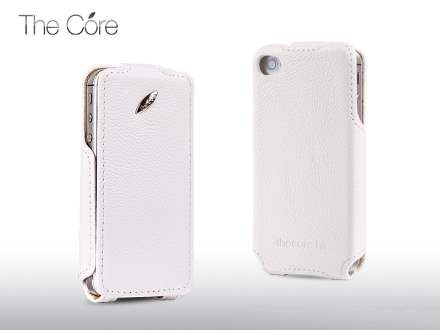Momax The Core Slim Synthetic Leather Flip Case for iPhone 4S/4 - White Leather Flip Case