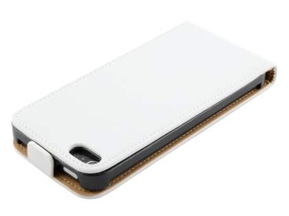 Slim Genuine Leather Flip Case for iPhone SE/5s/5 - Pearl White