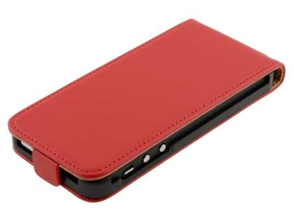 Slim Genuine Leather Flip Case for iPhone SE/5s/5 - Red