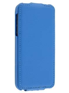 iPhone SE/5s/5 Slim Synthetic Leather Flip Case - Blue Leather Flip Case