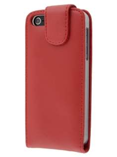 Apple iPhone SE/5s/5 Genuine Leather Flip Case - Red Leather Flip Case