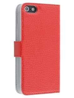 Genuine Textured Leather Wallet Case for iPhone SE/5s/5 - Red Leather Wallet Case