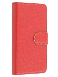 Premium iPhone SE/5s/5 Genuine Textured Leather Wallet Case - Red
