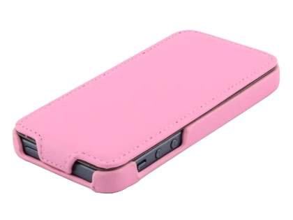 iPhone SE/5s/5 Slim Synthetic Leather Flip Case - Baby Pink
