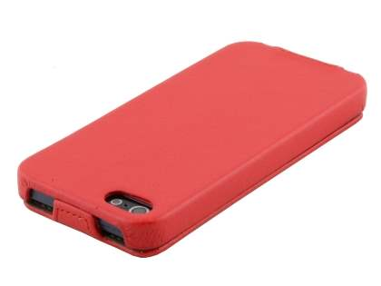Synthetic Leather Flip Case for iPhone SE/5s/5 - Red