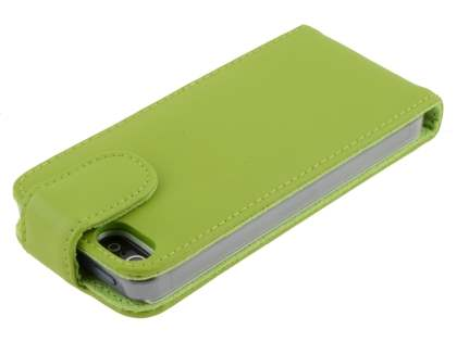 Genuine Leather Flip Case for iPhone SE/5s/5 - Green