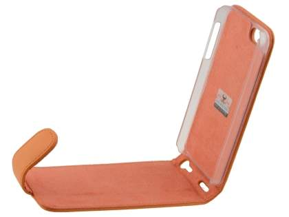 Genuine Leather Flip Case for iPhone SE/5s/5 - Orange