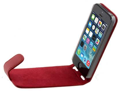 Apple iPhone SE/5s/5 Genuine Leather Flip Case - Red