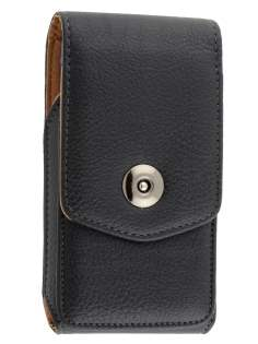 Textured Synthetic Leather Vertical Belt Pouch with Buckle - Bumper Case Compatible - Belt Pouch