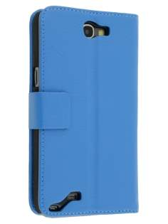 Synthetic Leather Wallet Case with Stand for Samsung Galaxy Note 2 4G - Sky Blue Leather Wallet Case